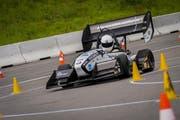 Der Elektrorennwagen «grimsel» hat den Turbo gezündet und den Beschleunigungsweltrekord in 1,785 Sekunden gebrochen. (Bild: PD)