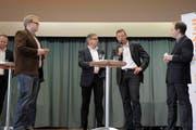 Vier der sieben Nationalratskandidaten von Uri: Matthias Fürst, Isidor Baumann, Josef Dittli und Markus Arnold. (Bild: Florian Arnold (Neue UZ))