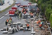 Ein Verkehrsunfall auf der Westautobahn (A1) bei Linz hat tausenden Huehnern unverhofft die Freiheit geschenkt und Chaos im Frühverkehr ausgelöst. (Bild: Keystone)