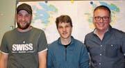 Von links: Verwalter Simon Epp, Vizepräsident René Jauch und Präsident Beat Tresch werden auch in der Amtsperiode 2019/20 im Korporationsbürgerrat Silenen tätig sein. (Bild: Robi Kuster (Silenen, 21. März 2018))
