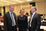 Die drei Nidwaldner Regierungsräte der CVP (von links) treten erneut an: Othmar Filliger, Karin Kayser-Frutschi und Josef Niederberger. (Bild: Richard Greuter (Stans, 1. Dezember 2017))