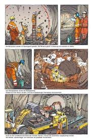 Bilderfolge aus dem Comic «Durch den Gotthard» des Luzerners Konrad Beck. (Bild: PD)