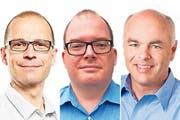 Erich Leu (parteilos), Bruno Stöckli (CVP) und Christoph Villiger (CVP), von links. (Bilder: PD)