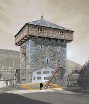 Der mittelalterliche Turm in Sachseln. (Bild: Illustration: Joe Rohrer)