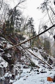 Der Weg ins Kleine Melchtal ist gesperrt. Ein eher unscheinbares Schild (links) weist Wanderer daraufhin. Der Sturm Burglind hat im Tal Zerstörung hinterlassen. (Bilder: Markus von Rotz (Sachseln, 26. Februar 2018))