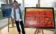 Mino stellt seine Kunstwerke zurzeit in der Ermitage aus. (Bild: Kurt Liembd (Beckenried, 11. März 2017))