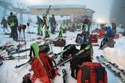 Vorbereitungen zum FIS-Europacup Damen Nachtslalom. (Bild: Robert Hess (Melchsee-Frutt, 26. Januar 2018))