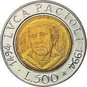 Italienische 500-Lire-Münze von 1494 mit Porträt von Luca Pacioli. (Bild: PD)