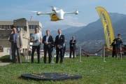Voraussichtlich 2018 soll der regelmässige Drohneneinsatz zwischen zwei Spitälern in Lugano Alltag werden. (Bild: Pablo Gianinazzi / Keystone (Lugano, 31. März 2017))