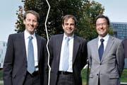 Er muss sich allein auf seine Partei verlassen: Thomas Aeschi. (links) Ihre Parteien spannen zusammen: Gerhard Pfister (links) und Bruno Pezzatti (rechts). (Bild: Stefan Kaiser)