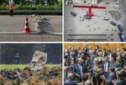 Unter anderem dies sorgte in der Schweiz 2015 für Schlagzeilen (oben links im Uhrzeigersinn): Hitzesommer, ein Staatsbesuch in Bern, ein neuer Bundesrat sowie der Absturz eines F/A-18. (Bilder Keystone)