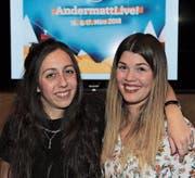 Shane Lutomirski (links) und Jenny Russi bei der Bekanntgabe des Line-ups von «Andermatt live!» (Bild: Urs Hanhart (Andermatt, 6. Dezember 2017))