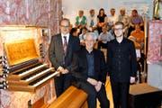 Die drei Organisten Karl Arnold, Erwin Mattmann und Daniel Vetter (von links) ernteten viel Applaus für das Konzertprogramm. (Bild Georg Epp)