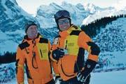 Der gebürtige Dallenwiler und heute im Kanton Bern wohnhafte Urs Näpflin (rechts) ist seit 2014 OK-Präsident der Lauberhornrennen in Wengen. Hier mit Beat Zurflüh, während zwanzig Jahren Chef der Minschkante. (Bild: PD (Wengen, 27. Dezember 2017))