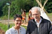 Frau Landammann Maya Büchi und Talammann Alex Höchli. (Bild: Romano Cuonz (Engelberg, 15. Juli 2017))