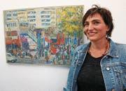 Die Kunstmalerin Doris Windlin hat Berlin in zahlreichen Bildern und einem Roadmovie festgehalten. (Bild: Romano Cuonz (Kägiswil, 7. April 2017))