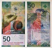 Das waren die früheren Fünfzigernoten Die neue Schweizer 50-Franken-Note der Schweizerischen Nationalbank, wie sie am 4. April präsentiert wurde. (Bild: KEYSTONE / LUKAS LEHMANN)