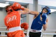 Einer der Lichtblicke der Luzerner Boxszene: Mit einem Finalsieg gegen Christian Silva Ramos wurde Attila Varga (rechts) Schweizer Meister in der Kategorie Jugend bis 63 Kilo. (Bild: Kurt Grüter)