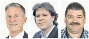 Sie wollen in den Gemeinderat von Hergiswil: Jürg Weber (60, CVP), Generalagent; David Legrand (29, parteilos), Ethnologe, Politologe, Historiker und Lehrer; Beat Kaufmann (48, parteilos), Sanitärmonteur. (Bild: PD)
