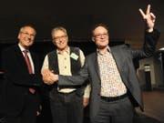 Schwören auf eine gute Zusammenarbeit (von links): Roland Inauen, Erich Herger und Michael Kaufmann. (Bild Urs Hanhart)