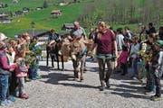 Mit Palmzweigen und Eseln: Die Kinder und Erwachsenen machten sich auf den Weg, um dem Geheimnis von Tod und Auferstehung näherzukommen. (Bild: Birgit Scheidegger (Lungern, 14. April 2017))