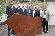 Sie sorgen für eine reibungslose «Uri 18»: Das OK (von links) Christoph Bugnon, René Röthlisberger, Urban Camenzind, Daniel Kaufmann, Beat Marty, Bruno Arnold und Franz Kempf. (Bild: PD)
