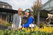 Gerda Lustenberger (links) zusammen mit Gärtnerei-Mitarbeiterin Selina Achermann. Bild: Marion Wannemacher
