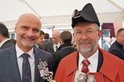 Landammann Ueli Amstad und Landstatthalter Edy Amstad. (Bild: Romano Cuonz (Obwaldner Zeitung))
