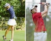 Gelten als grosse Talente im Golfsport: Lily Hürlimann (14, links) aus Walchwil und die Hünenbergerin Elena Moosmann (15). (Bild: Stefan Waldvogel)