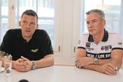 Für Marco Hauger (links), Präsident von Neues Altdorf, und Beat Marty, Präsident des Gewerbevereins Altdorf, ist eine Begegnungszone die aktuell beste Lösung. (Bild Florian Arnold)
