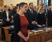 Jolanda Joos (SP/Grüne) wurde als Landrätin vereidigt. (Bild: Urs Hanhart (Altdorf, 31. Januar 2018))
