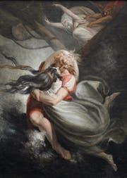 Gemälde von Johann Heinrich Füssli: Amanda stürzt sich mit Hüon ins Meer, Fatime wird mit Gewalt zurückgehalten. (Bild: zvg)