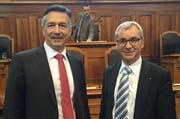 Die zwei neuen Ständeräte im Sitzungssaal der Kleinen Kammer: links Hans Wicki, rechts Erich Ettlin. (Bild: PD)