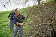 Marcel Odermatt (vorne) und Heinz Amstad bauen einen Unterschlupf für ein Wiesel (Bild unten). (Bilder Corinne Glanzmann/ Susanne Heusser, PD)