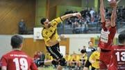 Topskorer Marko Koljanin (Mitte) warf gegen Solothurn neun Tore. (Bild: Urs Hanhart (Altdorf, 3. Februar 2018))