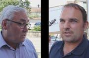 Alois Gmür (links) und Marcel Dettling fordern vom Regierungsrat eine saubere Abklärung in Sachen Viadukt Willerzell. (Bild: Geri Holdener, Bote der Urschweiz)
