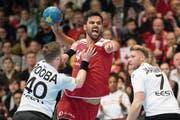 Lukas von Deschwanden beim WM-Qualifikationsspiel gegen Estland. (Bild: Ennio Leanza/Keystone (Winterthur, 7. Januar 2018))