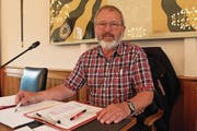 Hans Gisler, Attinghausen, leitete gestern letztmals die Sitzung des Grossen Landeskirchenrats. (Bild: Markus Zwyssig (18. Mai 2017))