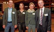 Der Vorstand der TCS-Untersektion Obwalden an der Generalversammlung 2018 (von links): Clemens Sidler, Vizepräsident, Carla Roth, Kassierin, Anita Eberli, Aktuarin, und Hubert Schumacher, Präsident. (Bild: Robert Hess (Flüeli-Ranft, 2. März 2018))
