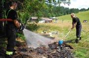 Die Feuerwehr nässt die Feuerstelle. (Bild: Kapo Schwyz)