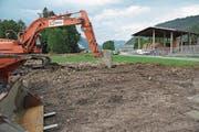 Baugelände Chilcherli in Alpnach. (Bild: Robert Hess (Alpnach, 18. August 2017))