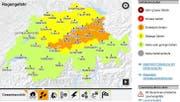 Die Gefahrenkarte von Meteo Schweiz, Stand Freitagnachmittag 14 Uhr. (Bild: Grafik Meteo Schweiz)