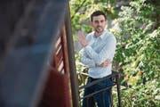 Politikwissenschaftler Olivier Dolder auf dem Balkon seines Büros an der Seidenhofstrasse. (Bild: Dominik Wunderli (Luzern, 16. September 2017))
