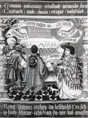 Stifterbild des Bruder-Klausen-Biografen Heinrich Wölflin im Berner Münster. (Bild: Reproduktion Romano Cuonz (5. Dezember 2017))