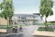 So soll der Eingangbereich des künftigen Besucherzentrums des Paraplegikerzentrums Notwil aussehen. (Bild: Visualisierung: Hemmi Fayet Architekten, Zürich)