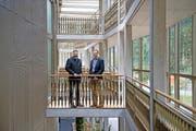 Thomas Feuz (links) und Franz Rutzer im «Boathouse». Bild: Corinne Glanzmann (Stansstad, 12. Oktober 2016)