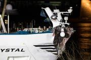 Der eingedellte Bug des Hotelschiffes aus der Schweiz nach der Kollision mit dem Brückenpfeiler. Der Schiffsunfall auf dem Rhein hat am späten Dienstagabend einen großen Feuerwehreinsatz ausgelöst. (Bild: Marcel Kusch/DPA)