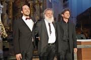 Joseph Sieber (v. l.), Wolfgang Sieber und Christof Estermann begeisterten am Dreikönigskonzert. (Bild: Romano Cuonz (Engelberg, 6. Januar 2018))