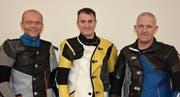 Diese drei Armbrustschützen holten für Gurtnellen den Schweizer-Meister-Titel: (von links) Adrian Arnold, Stephan Loretz und Christof Arnold. (Bild: PD (3. Februar 2018))