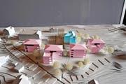 Unter dem Lungerer Bahnhof (Bildmitte oben) sollen rund 30 Wohnungen in vier Häusern (rosa) entstehen. Die Marienburg (blau) wird zu einem Bed & Breakfast umgebaut. (Bild: Christoph Riebli (Neue Obwaldner Zeitung))
